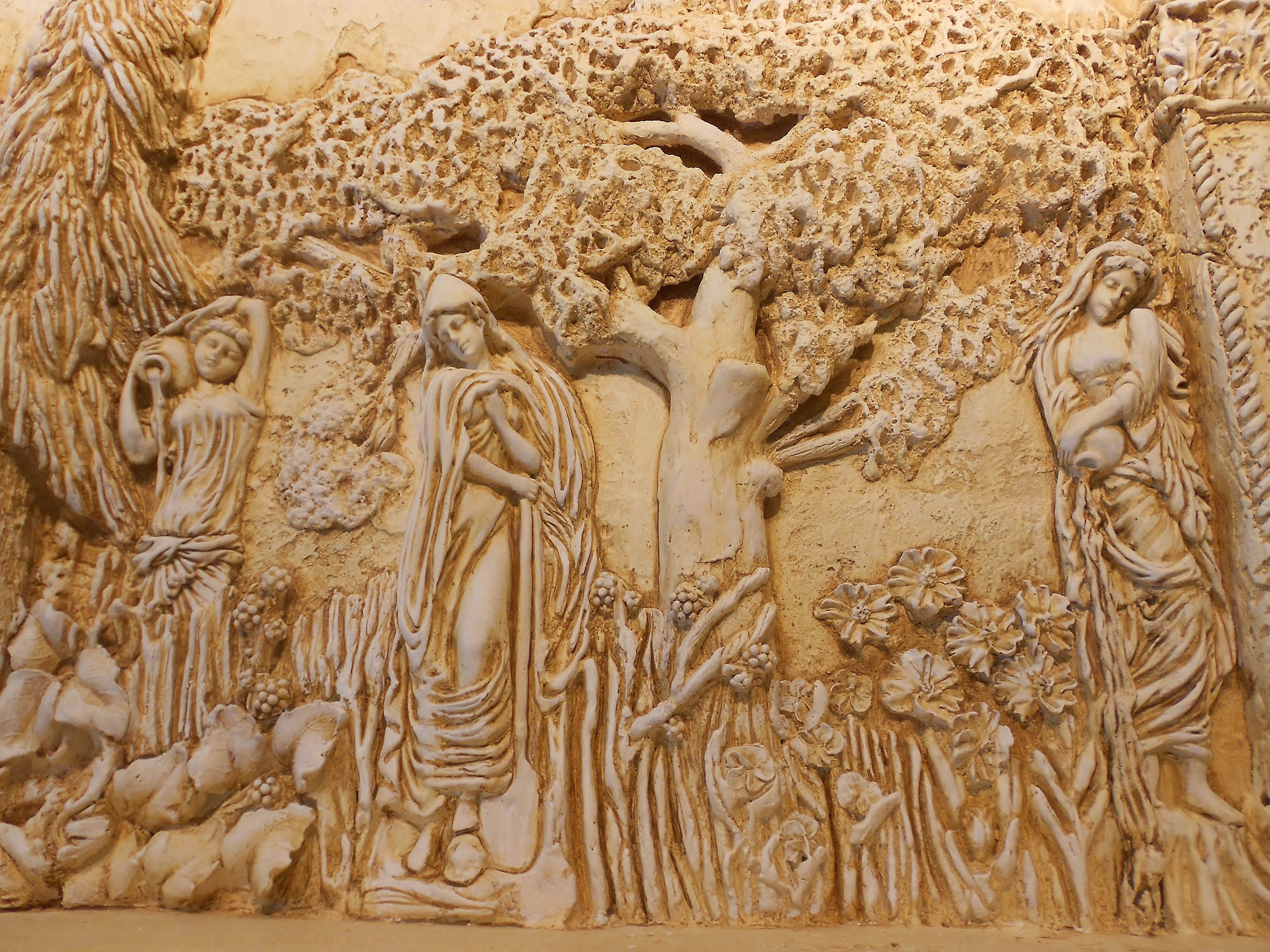 Architectural relief plaster high relief wall sculpture for Bas relief mural