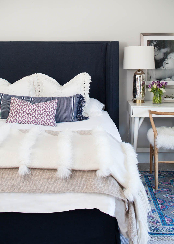 A blue boho bedroom by Emily Henderson