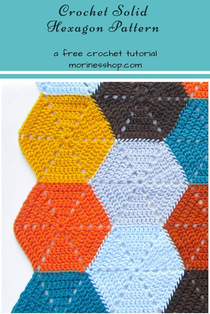 How to Crochet A Basic Solid Hexagon in 2020   Crochet ...