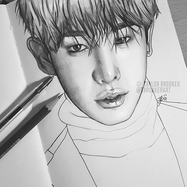 Pen Pencil Sketch Of Wonho Monsta X Hope You Like It P S I Ve Opened My Personal Instagram If Anyone S Interested Monsta X Kpop Drawings Bts Drawings