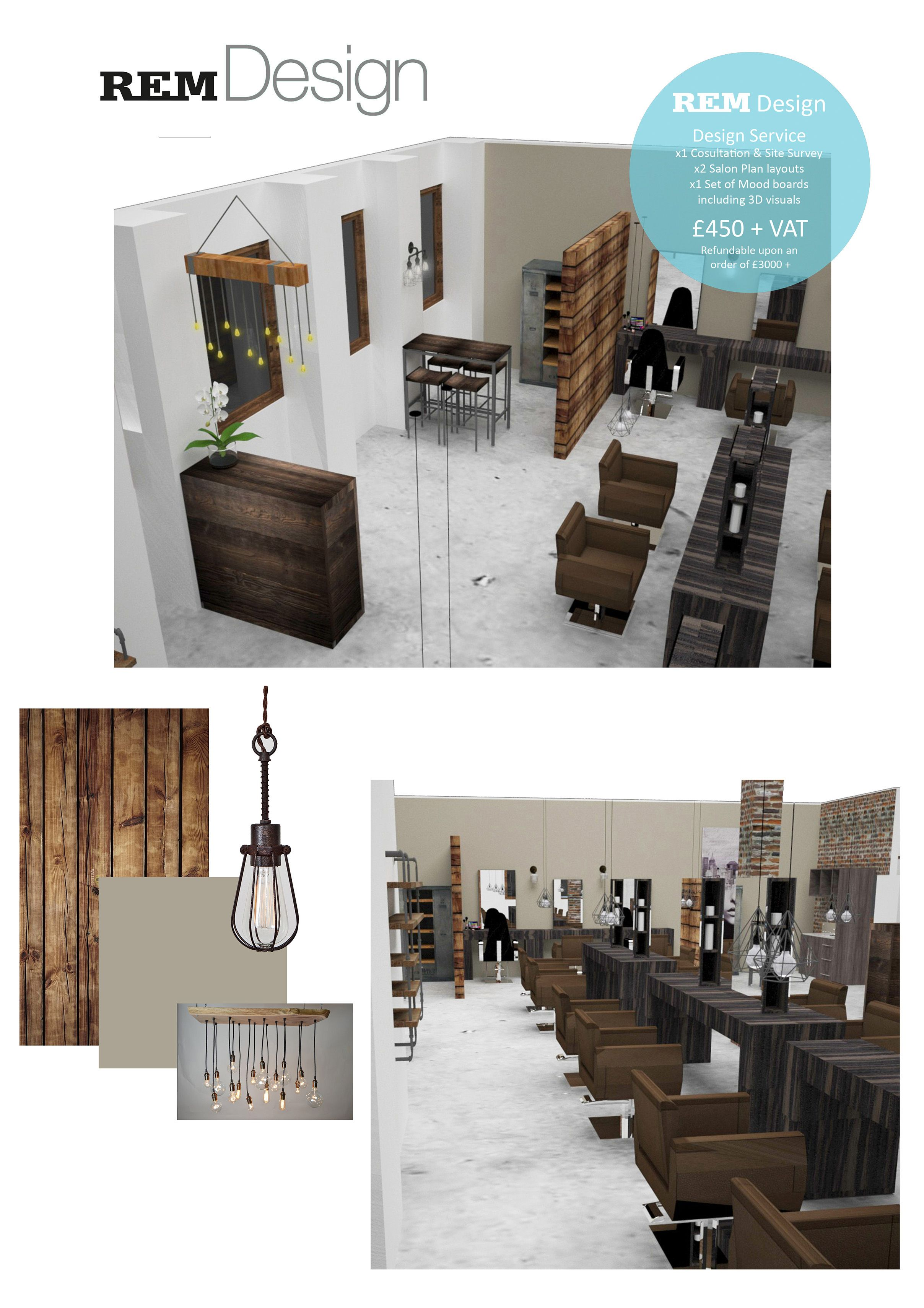 Plan 3d Salon Monday Morning Mood Board Industrial Rustic Salon Style