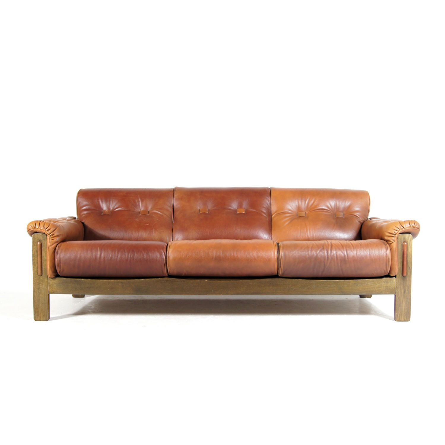Retro Vintage Danish Scandinavian Walnut 3 Seat Seater Leather Sofa 50s 60s 70s Modern Leather Sofa Leather Sofa Living Room Leather