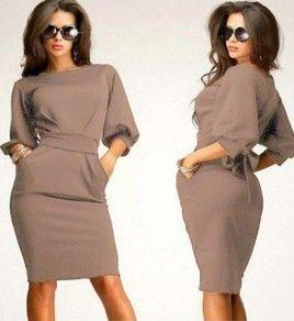 Camel Belt Pleated Elbow Sleeve Slim Fashion Elegant Midi Dress