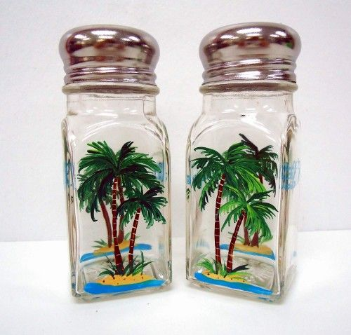 Palm Salt And Pepper Shakers Handpainted Art On Gl