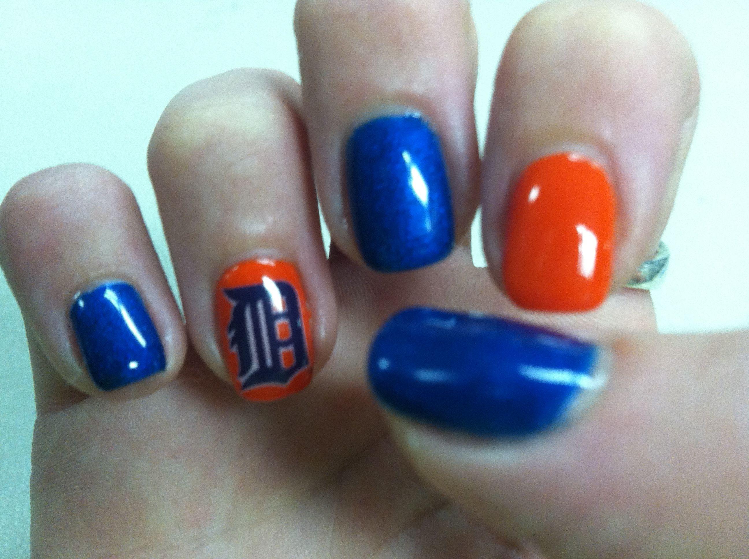 Detroit Tigers Nail Art | Nail Desings | Pinterest | Tiger nail art ...