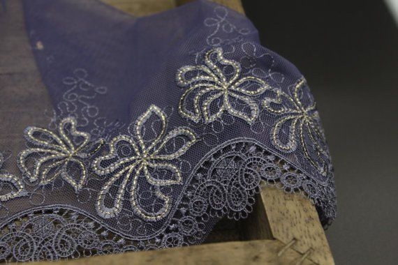 Navy Blue Mesh Lace Trim With Golden Flowers And Victoria Embroidery Edge 8 Inches Wide White Lace Fabric Bridal Lace Fabric Black Lace Fabric