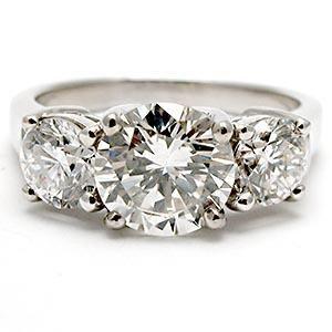 2 1 2 Carat Three Stone Diamond Engagement Ring Solid Platinum Yellow Engagement Rings Vintage Engagement Rings Three Stone Engagement Rings