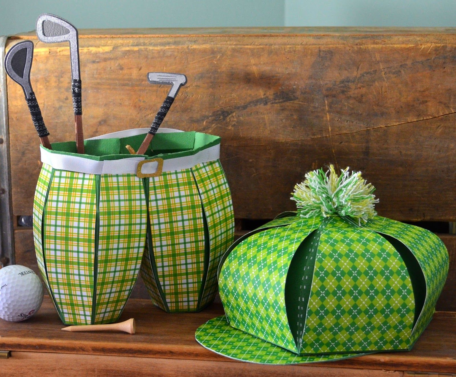 Sharas Paper Creations: Vintage Golf Pants and Hat Gift Boxes