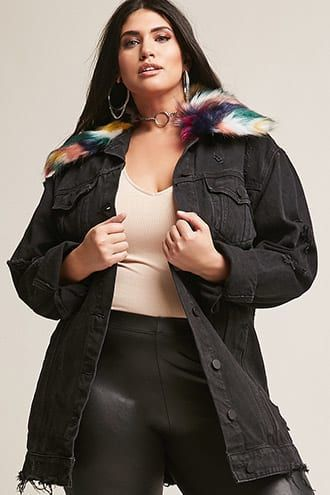 29faa274b0b0d Plus Size Faux Fur Collar Denim Jacket