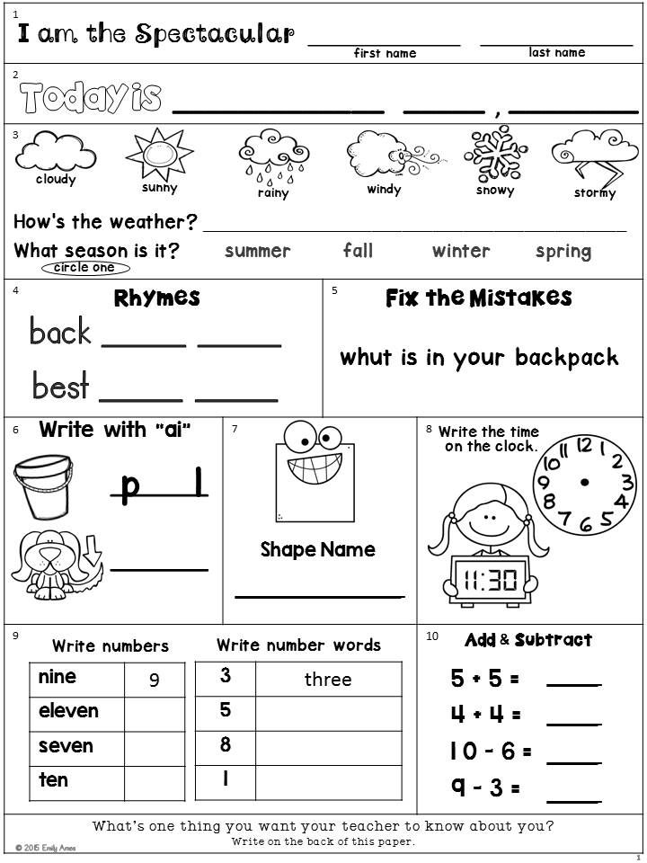 Second Grade Morning Work Freebie Addition Subtraction Shapes Time Numbers Number Words Rhymes Punctuation Weather Date And Seasons