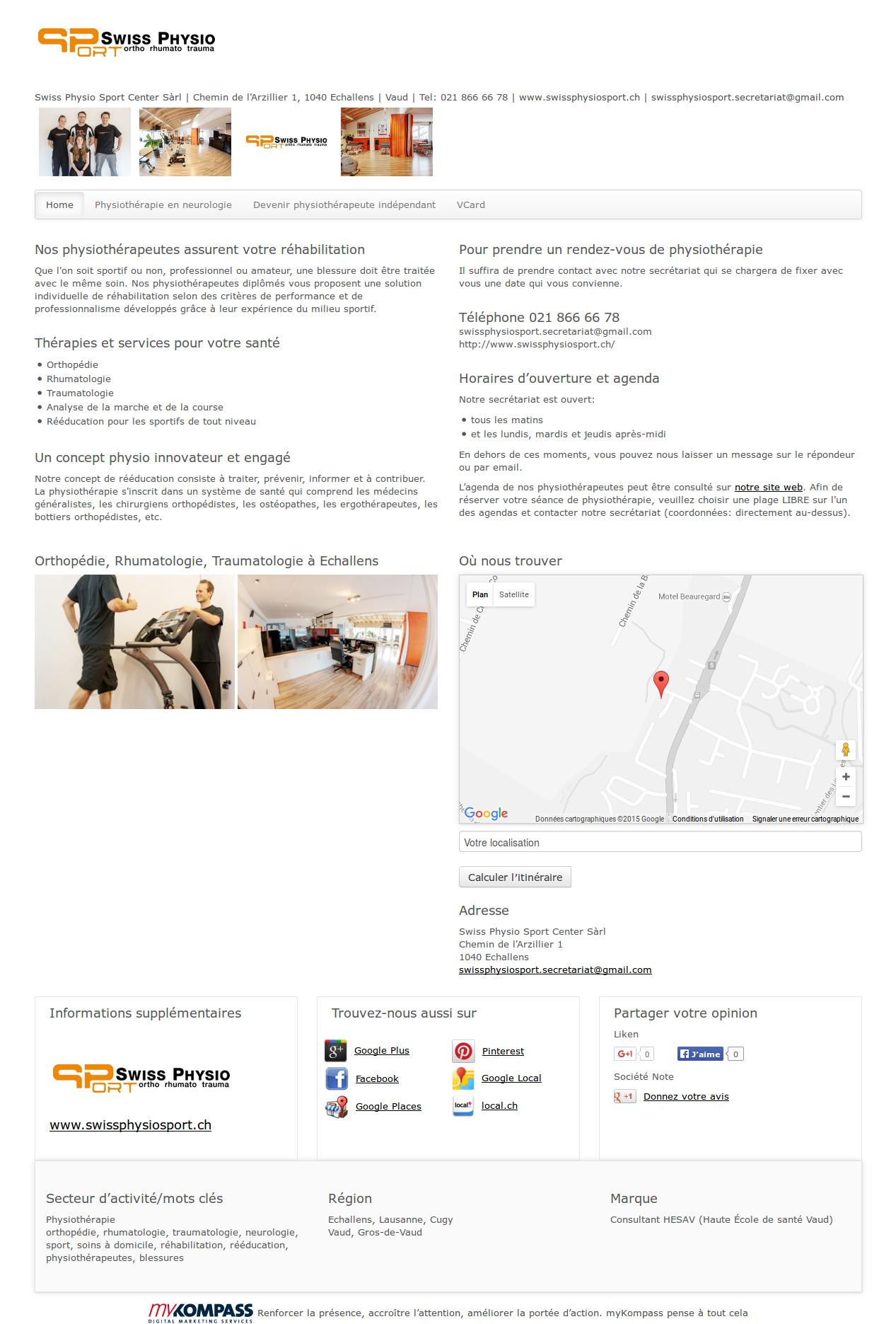 Swiss Physio Sport Center Sàrl, Echallens, physiothérapie, orthopédie, rhumatologie