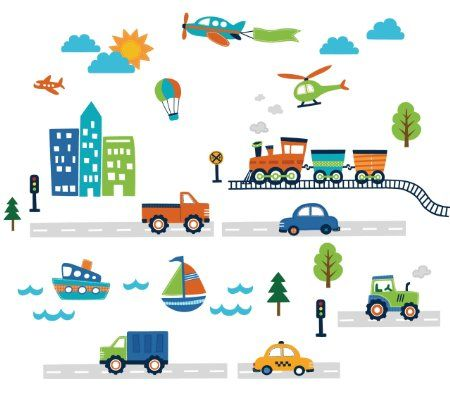 CherryCreek Decals Transportation and City Scene Kids' Room Peel and Stick Wall Sticker Decals - Amazon.com