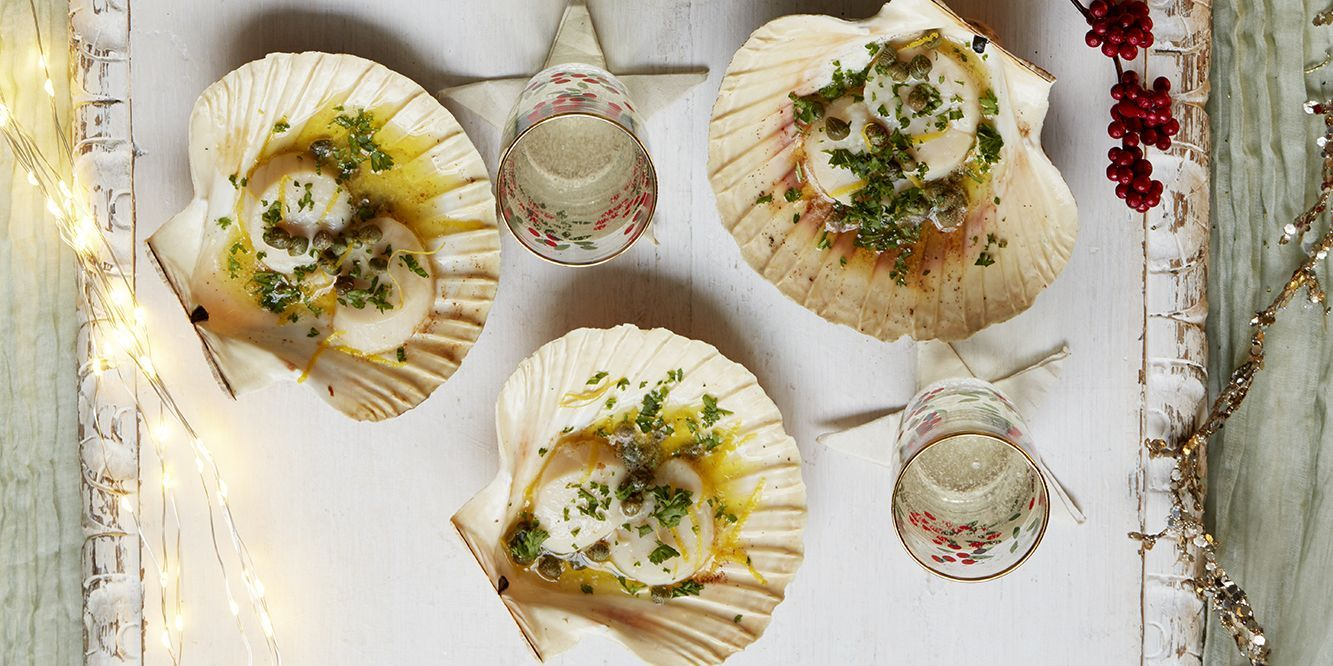 Christmas canapé recipe Scallops with caper and lemon
