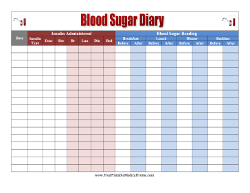 Printable Blood Sugar Log | Free Medical Forms- Blood Sugar Log ...