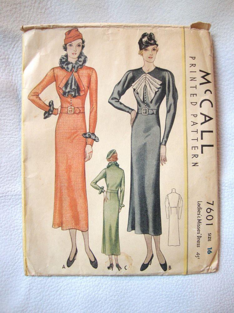 06597689 Vtg 1930's McCall Dress Pattern *Smart, Slim Style* 34