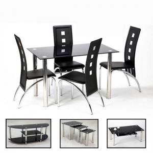 Bizet 4 Seater Dining Room Set In Black Glass And Chrome Black