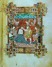 Miniature of the baptism of Christ from the Benedictional of St. Æthelwold, 10th century, is an example of the Anglo-Saxon school.