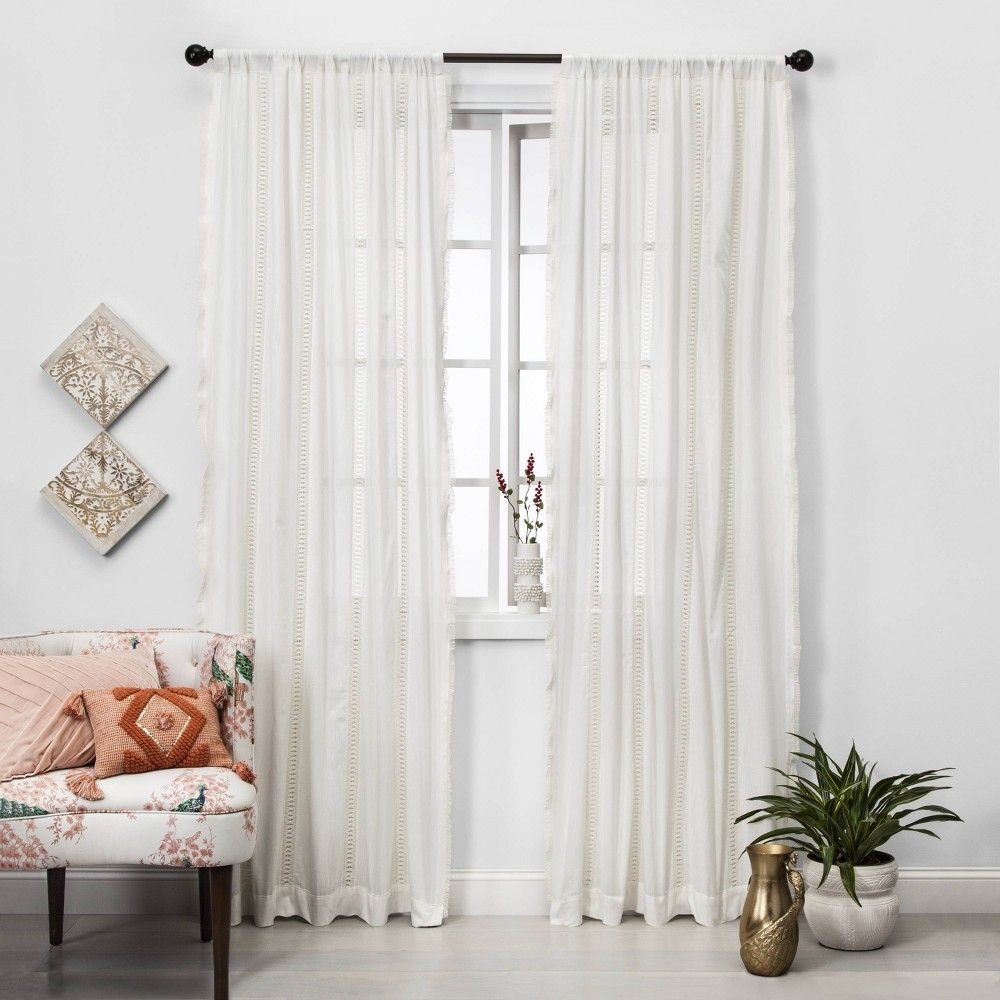 84 X42 Lace Trim Light Filtering Window Curtain Panel Sour Cream
