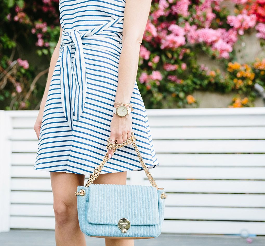Light blue purse  How To Make Sneakers Look Cute For Summer – Sydne Style