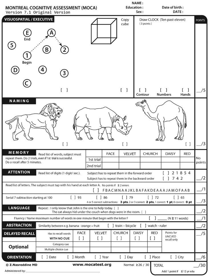 The Montreal Cognitive Assessment Moca  Free Online Screener