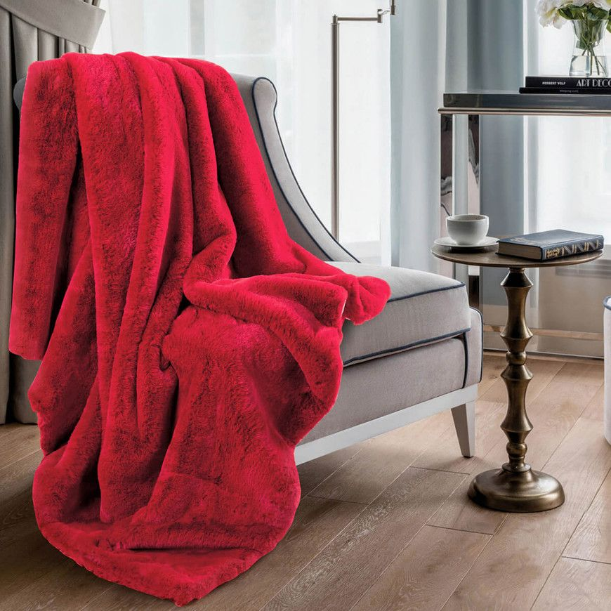 بطانية ديم خفيفة مخمل وفرو مفرد ونص أحمر 150 180 سم Blanket Throw Blanket Home