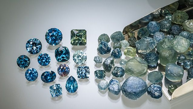A selection of heat-treated Rock Creek sapphires produced by