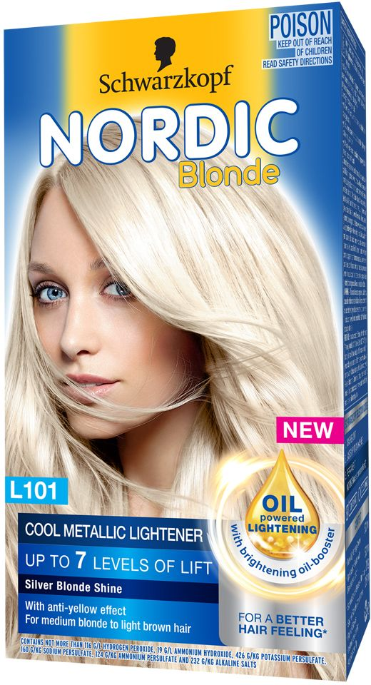 Schwarzkopf Nordic Blonde L101 Cool Metallic Lightener Silver Blonde Is A Platinum Lightening Kit Formulated Nordic Blonde Silver Blonde Schwarzkopf Hair Color