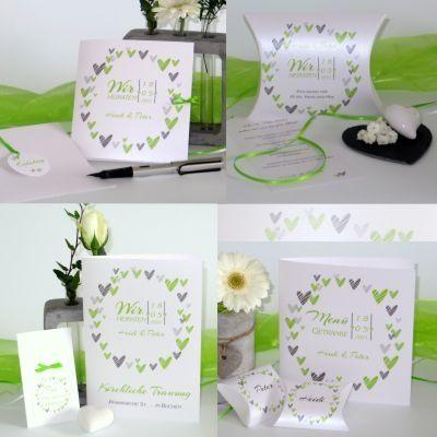 Hochzeitskarten Und Deko In Frischem Grun Hochzeitskarten