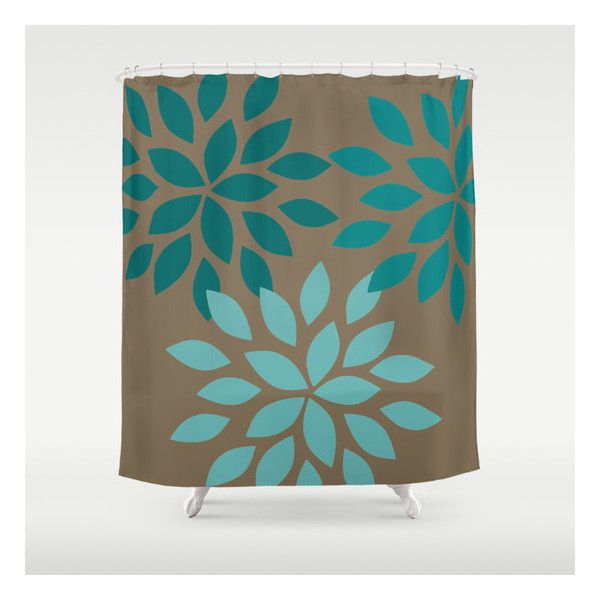 Dahlia Shower Curtain Brown Teal Art Bathroom Accessories Home