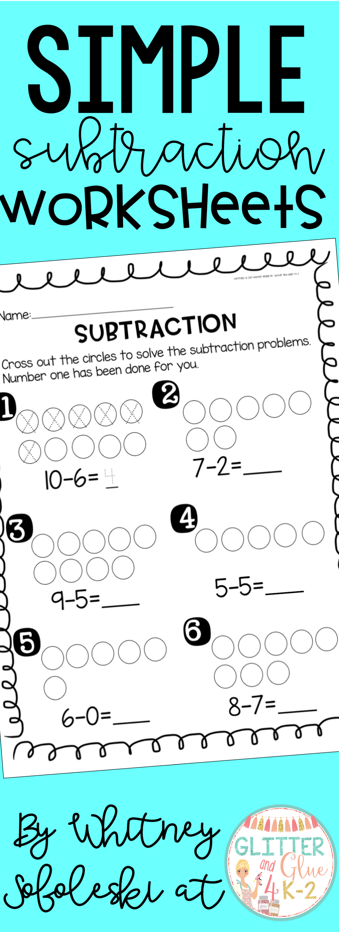 Simple Subtraction Worksheets {An introduction to subtraction ...
