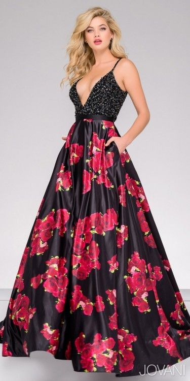 be2fdd0eefb6 Jovani Beaded Bodice Floral Print Prom Dress #prom #dress | Dresses ...