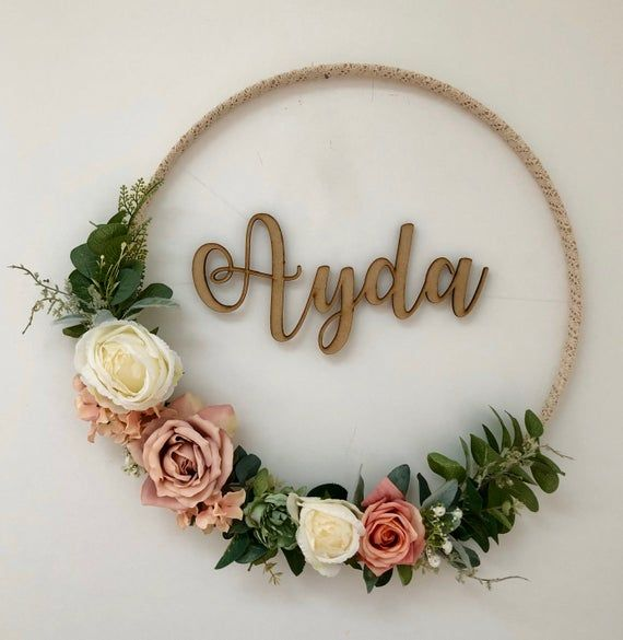 Photo of Artificial floral hoop wreath – large floral wreath, personalised hoop wreath, nursery decoration wa