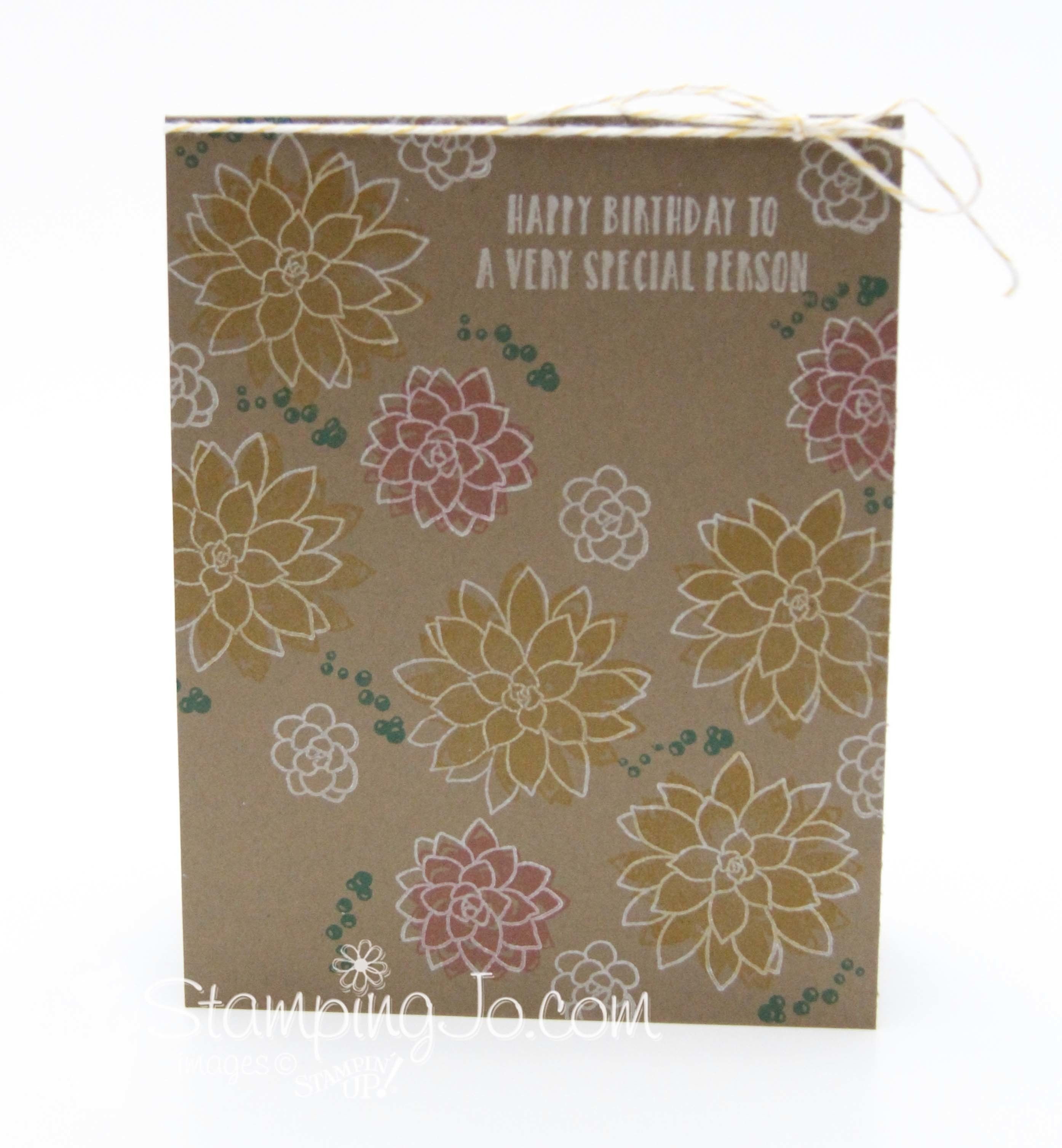 Oh So Succulent stamp set, Stampin Up, 2017 Occasions Catalogue, quick and easy, no layer stamped card