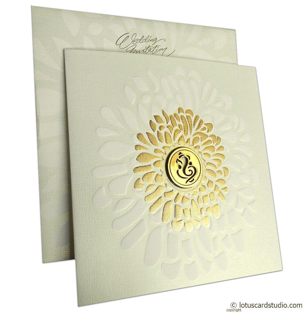 Gold Shine Ganesh Wedding Card Indian Wedding Invitation Cards Hindu Wedding Cards Indian Wedding Cards