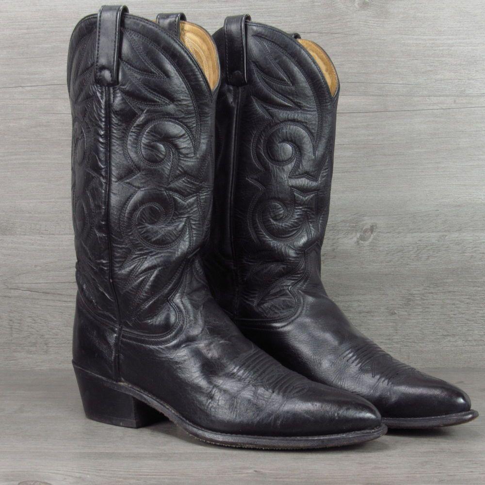 92a7af86d70 Vintage Acme Cowboy Boots Black All Leather Western Size 10 D   Boot ...