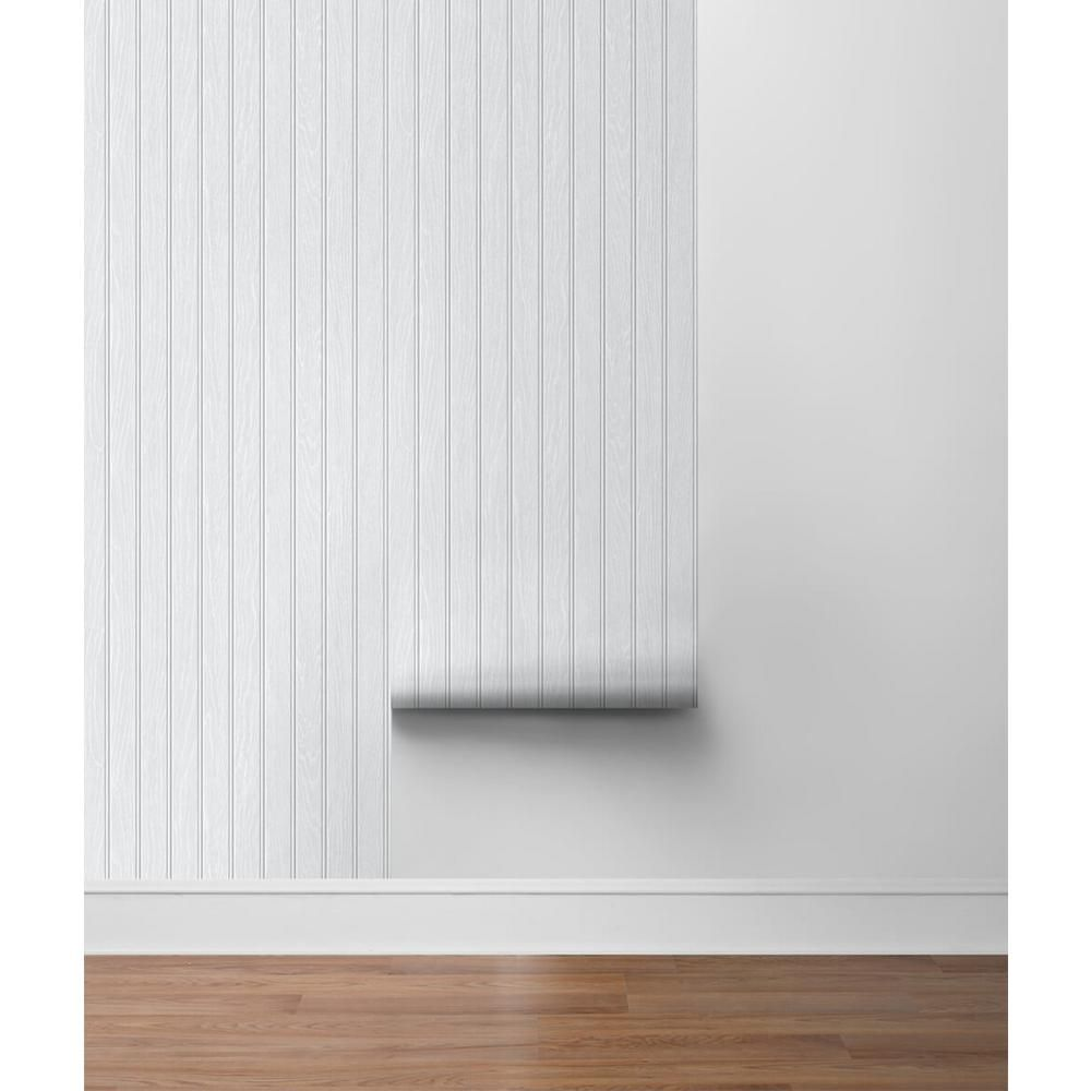 Nextwall Faux Beadboard Off White Vinyl Peelable Roll Covers 30 75 Sq Ft Nw35800 The Home Depot Peel And Stick Wallpaper Beadboard Wallpaper Beadboard
