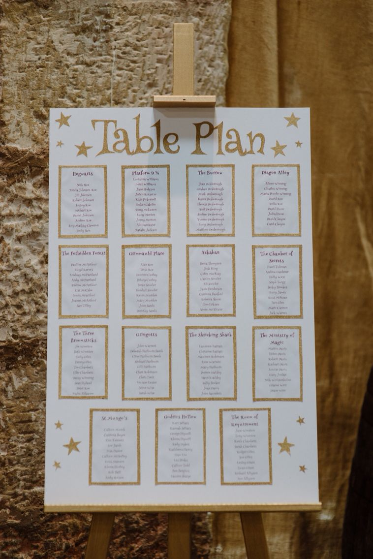 Harry Potter Table Names Wedding Table Names Wedding Table Plan Seating Plan Wedding