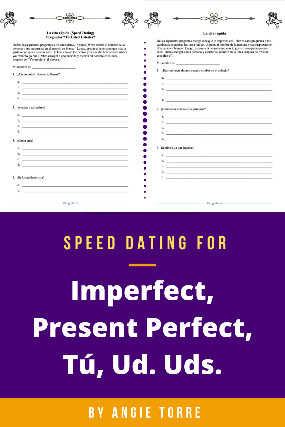 Spanish Speed Dating Game For The Imperfect Present Perfect Tu Usted Ustedes How To Speak Spanish Speed Dating Speaking Activities