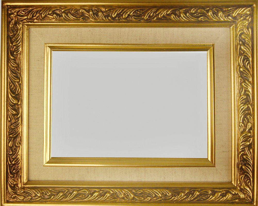 Picture Frame Wood Gold Linen Fancy Swirl Art Photo 2 25 Wide