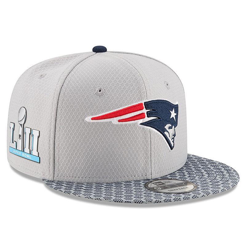 size 40 7acba fc9de New England Patriots New Era Super Bowl LII Side Patch Sideline 9FIFTY  Snapback Adjustable Hat – Silver