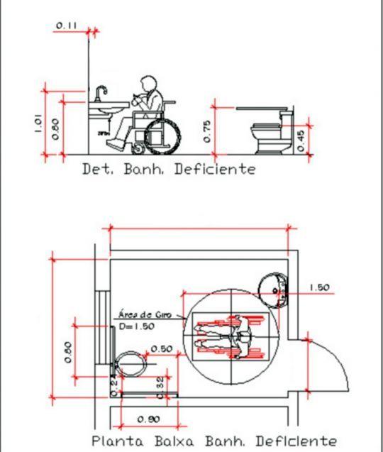 Super Projeto de Banheiro Especial para Cadeirantes / Deficientes  WC95