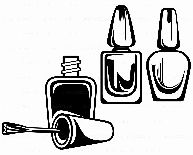 Nail art abstract vector logo bottle of nail polish with a