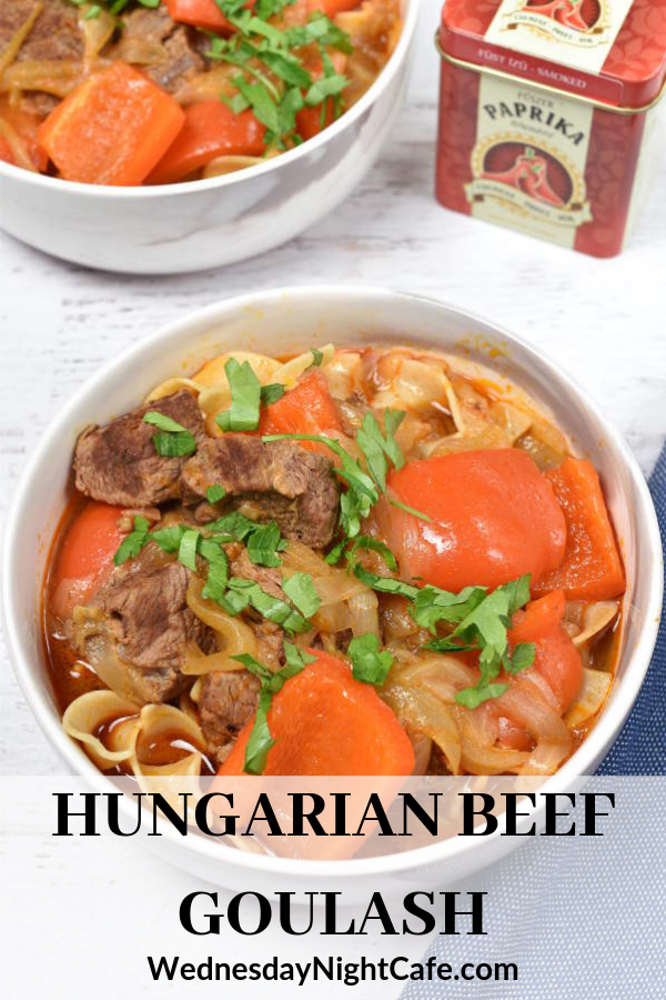 Hungarian Beef Goulash Is A Soup Made With Slow Cooked Beef Stew Meat Onions And Red Pepper And Fl Beef Goulash Stew Meat Recipes Recipes Using Ground Beef