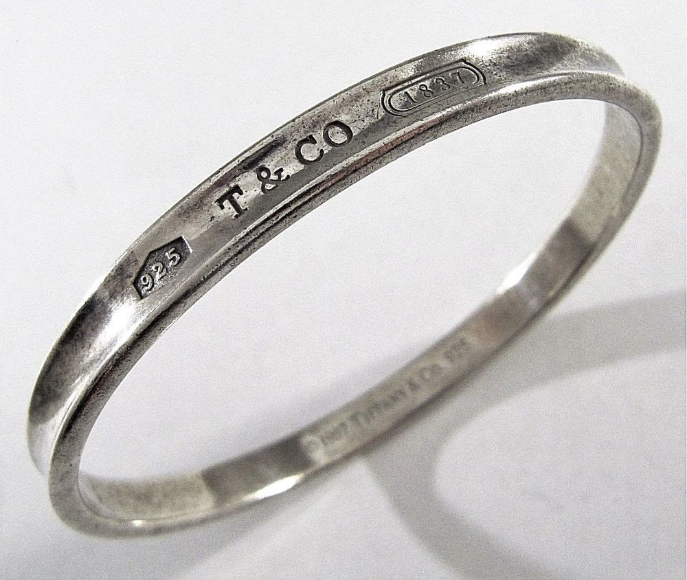 Auth 1997 Tiffany Co 925 Sterling Silver 1837 Collection Bangle Bracelet 7 5 Modern Jewelry Bangles Bangle Bracelets