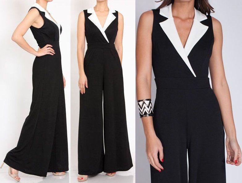 Plus Black White Notch Collar Wide Leg Dress Jumpsuit High Waist Pants Suit