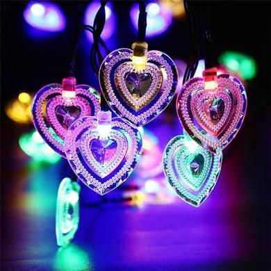 20 LED Fairy Light Solar Powered Heart Shaped Colorful Led String - solar christmas decorations