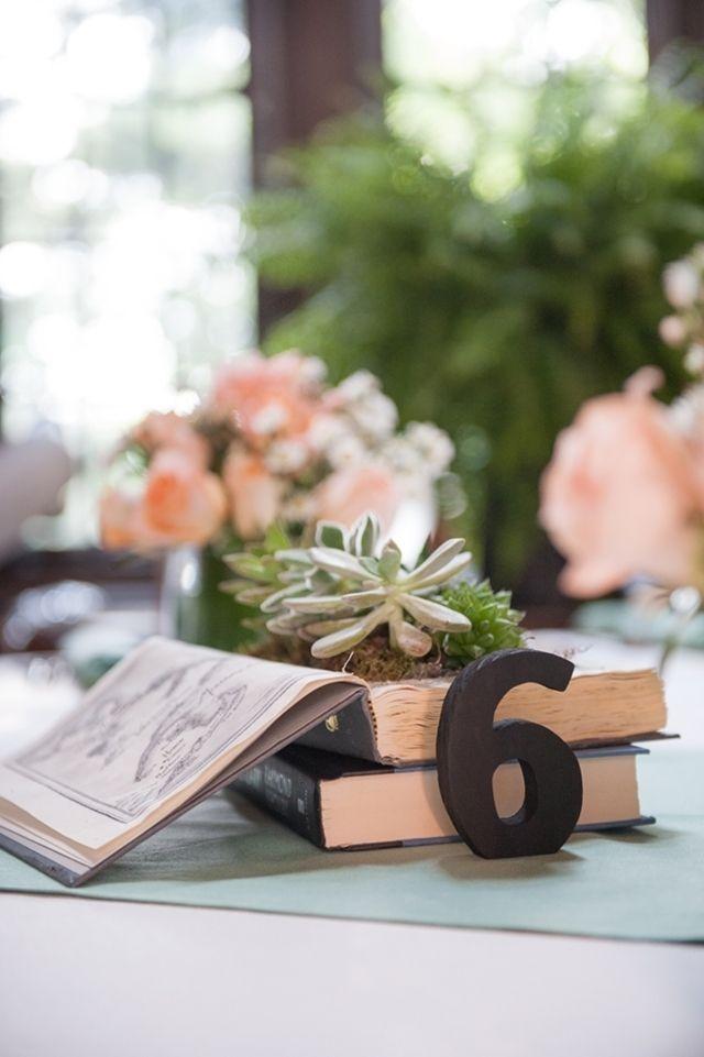 books wedding centerpiece