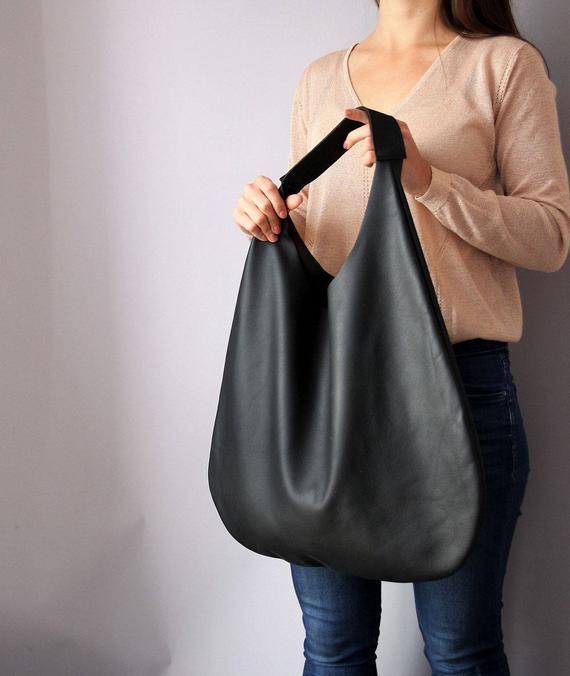 Schwarz Leder HOBO Tasche, schwarze Handtasche für Frauen