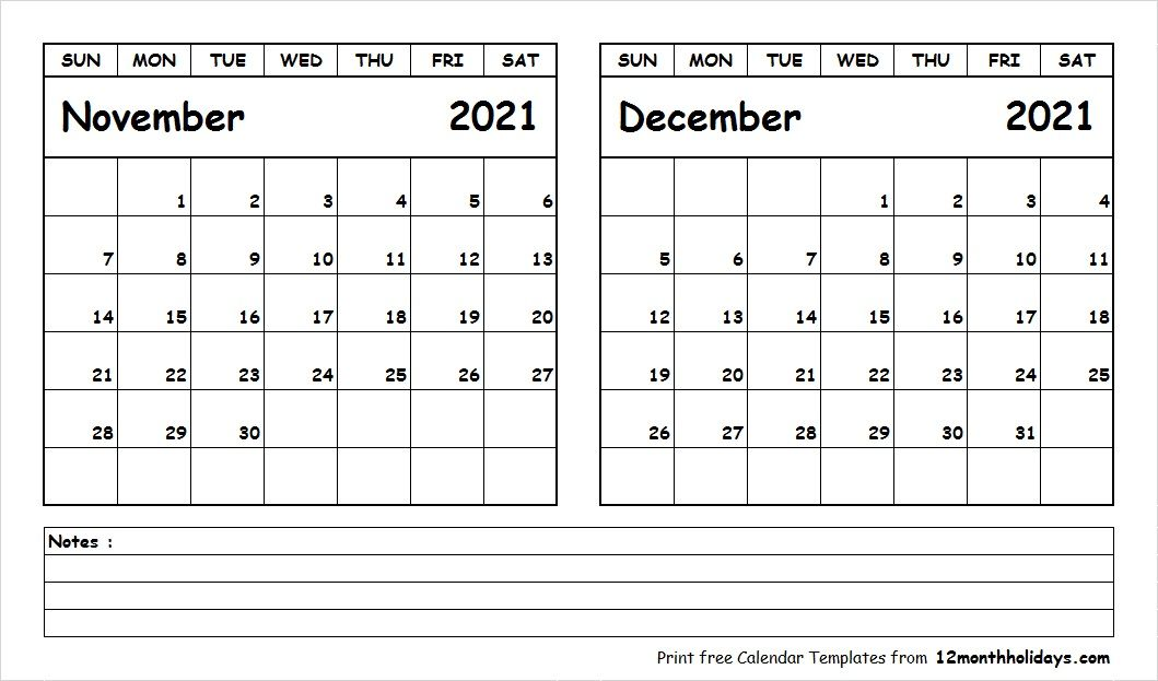 Blank Calendar November December 2021 Calendar Printables Printable Calendar July 2019 Calendar