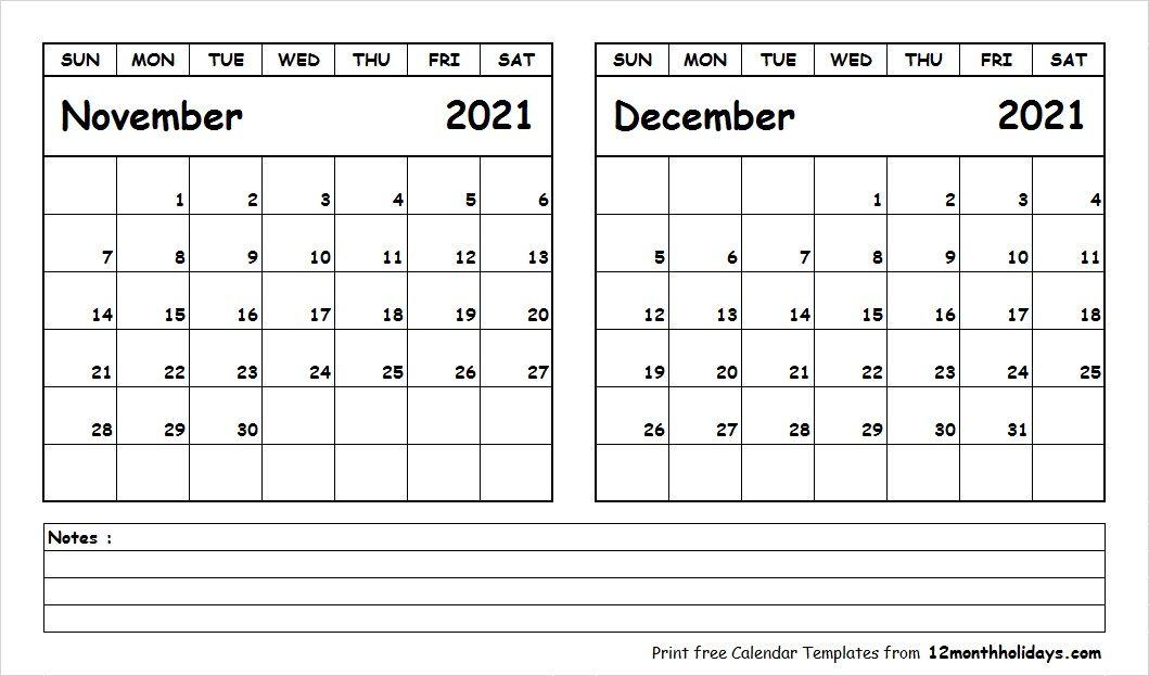Calendar November And December 2021 Blank Calendar November December 2021 | Calendar printables